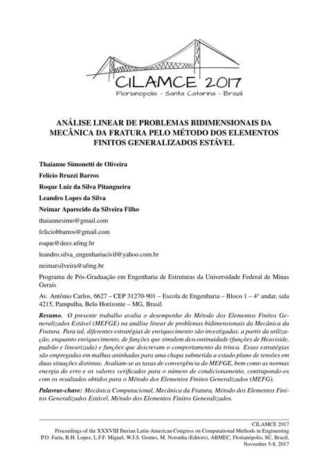 (PDF) ANÁLISE LINEAR DE PROBLEMAS BIDIMENSIONAIS DA
