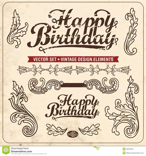 happy birthday vintage design vintage design elements happy birthday royalty free stock