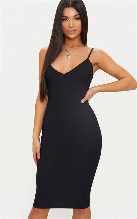 black ribbed plunge midi dress dresses