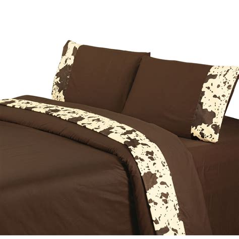 Cowhide Comforter Set by Caldwell Ranch Printed Cowhide Sheet Set Chocolate