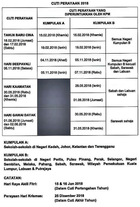 Kalendar 2018 Tahun Baru Cina Kalender Senarai Cuti Umum 2018 Malaysia Dan Cuti Sekolah