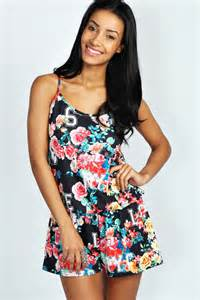 black and white patterned playsuit boohoo hallie floral collegiate print racer back playsuit