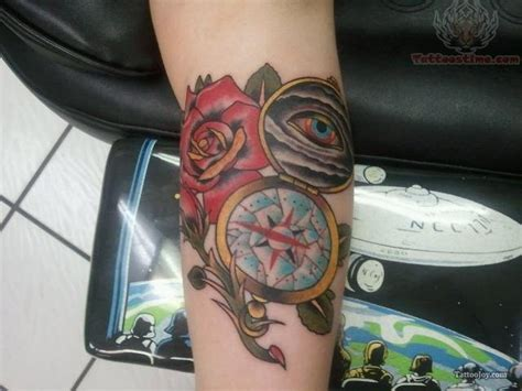 compass and rose tattoo and eye compass
