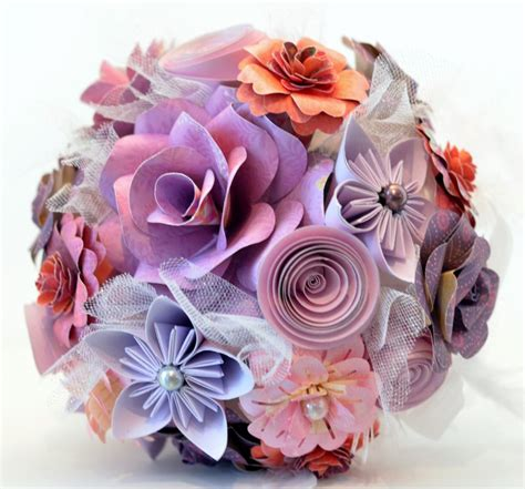 Handmade Paper Flower - handmade purple paper flower wedding bouquet