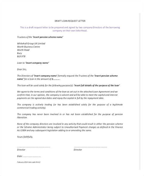 Loan Application Letter To Company loan letter templates 9 free sle exle format