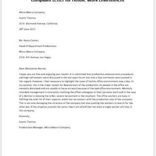 Demand Letter Hostile Work Environment complaint letter for bad working environment