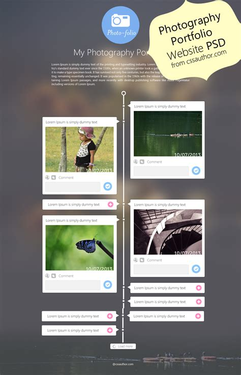 Photography Portfolio Website Template Design Psd From Css Author Freebie No 55 Web Developer Portfolio Templates