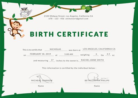 free birth certificate template free animal birth certificate template in psd ms word