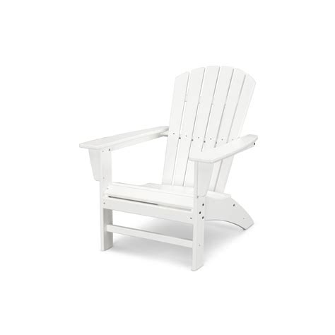 Plastic Adirondack Chair - polywood traditional curveback white plastic outdoor patio
