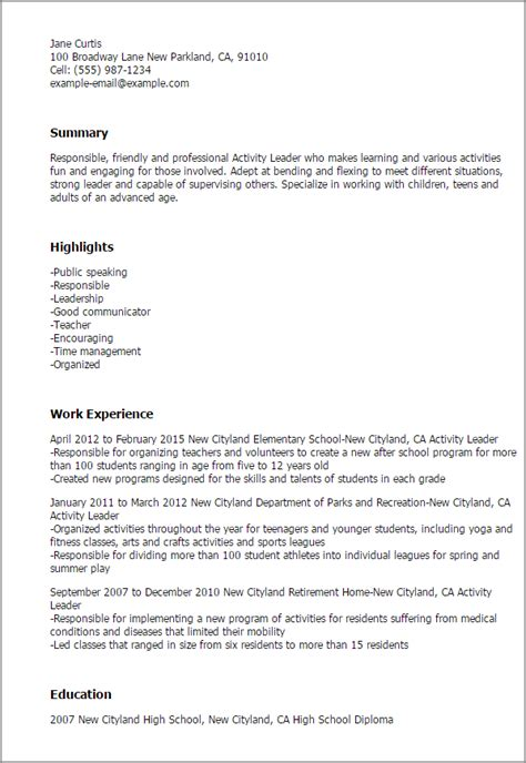 Recreation Leader Sle Resume by Professional Activity Leader Templates To Showcase Your Talent Myperfectresume