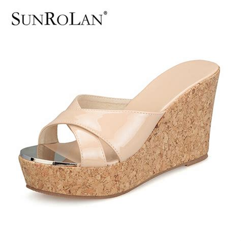 slippers size 11 sunrolan platform shoes high heeled wedges slippers