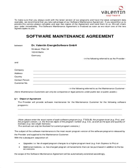 6 Sle Maintenance Contract Agreements Sle Templates Av Service Contract Template
