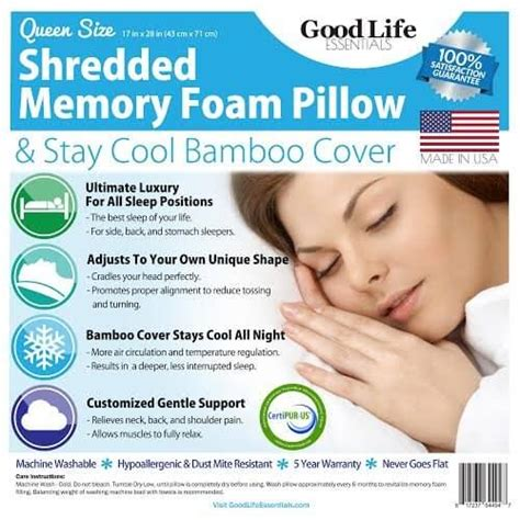 bamboo covered stay cool shredded gel memory foam pillow good life essential s shredded memory foam pillow reviews