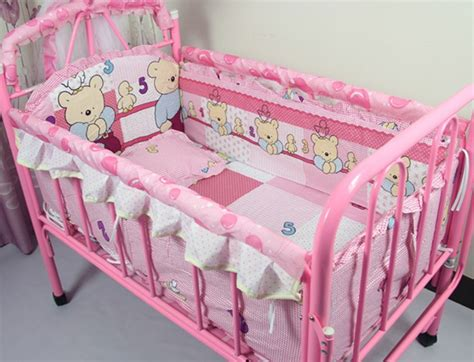 affordable baby bedding discount 5pcs pink bear baby bedding set cute baby crib nursery bedding set 110 65