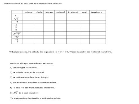 Real Numbers Worksheet by Worksheet Classifying Real Numbers Worksheet
