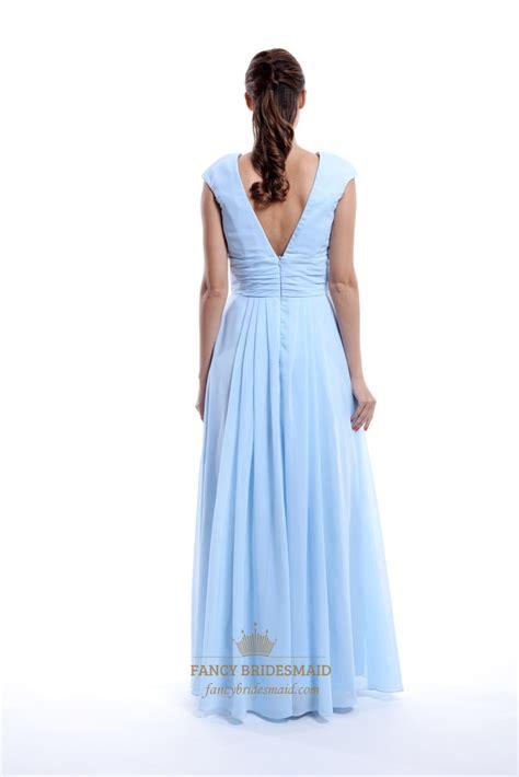 light blue chiffon dress light blue chiffon v neck back ruched bridesmaid dress