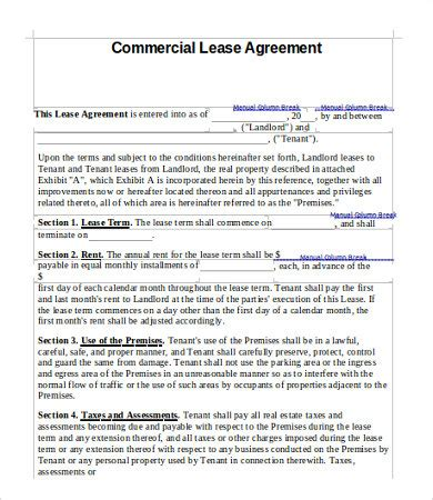 Commercial Lease Agreement Template Free Pdf