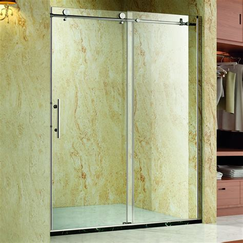 Glass Shower Door Width Homcom Frameless Glass Sliding Shower Door Polished Stainless 60 Quot Width 3 8 Quot Glass