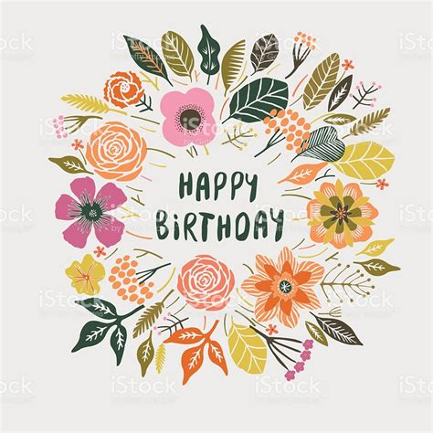 happy birthday card design vector illustration happy birthday floral wreath card design stock vector art