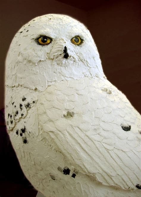 How To Make A Paper Mache Owl - snowy owl is painted finally ultimate paper mache