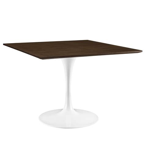 Contemporary Dining Table Base Lippa Contemporary 40 Quot Walnut Dining Table With Lacquered Pedestal Base Walnut