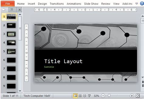 Free Widescreen Technology Powerpoint Template Microsoft Office Powerpoint Templates Technology