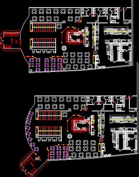 fast food restaurant  dwg plan  autocad designs cad