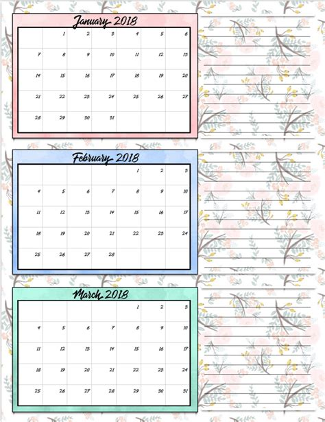 Calendar 2018 Design Free Free Printable 2018 Quarterly Calendars 2 Designs
