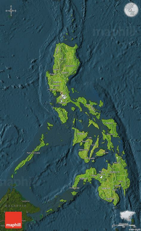 phil map via satellite satellite map of philippines darken