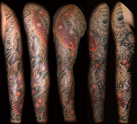 koi dragon sleeve tattoo designs simson