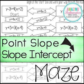 slope maze converting point slope form to slope intercept form maze