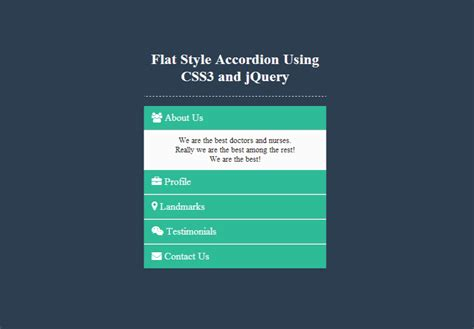 jquery layout with menu creating a flat style accordion using css3 and jquery