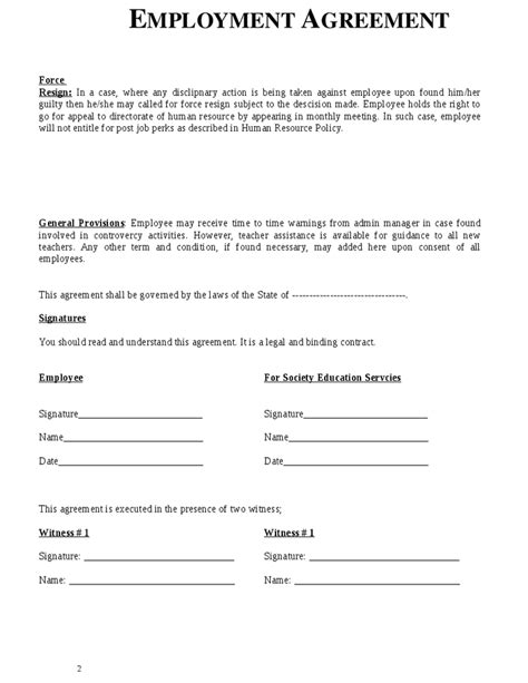 employee salary agreement word template employee