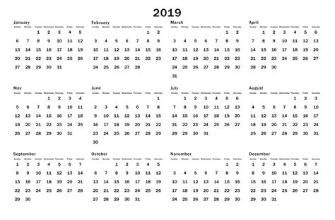 free printable year at a glance calendar for 2018