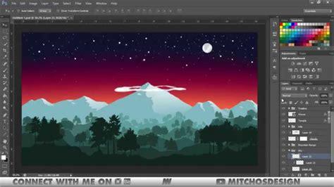 flat design effect photoshop nepal flat landscape speed art photoshop illustrator