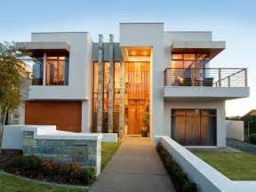 concrete modern house exterior with balcony amp feature