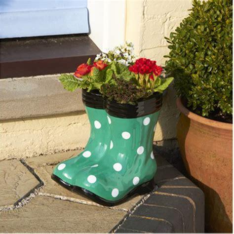 botanico wellington boot planter green polka dots wellies