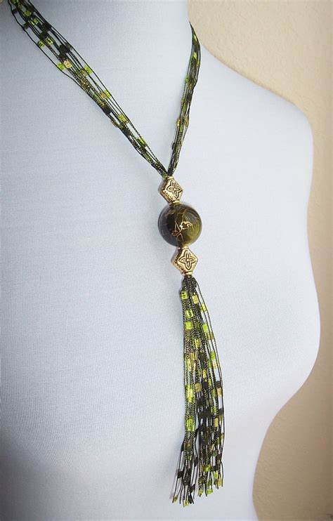 pattern ladder yarn necklace items similar to trellis ladder ribbon yarn necklace