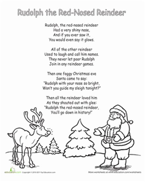 printable lyrics to rudolph the red nosed reindeer worksheets education com