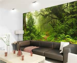 tropical dark green forest nature rainforest 3d full wall deep forest waterfall nature full wall mural photo