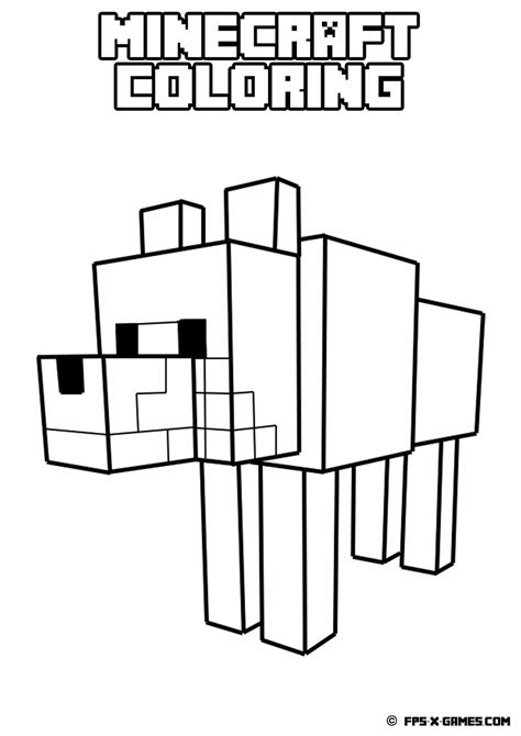 Coloring Pages Minecraft Wolf | printable minecraft coloring tamed wolf pages to color