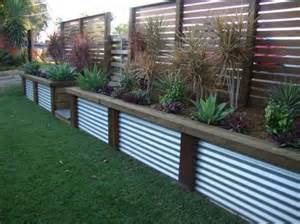 corrugated metal planter outdoors