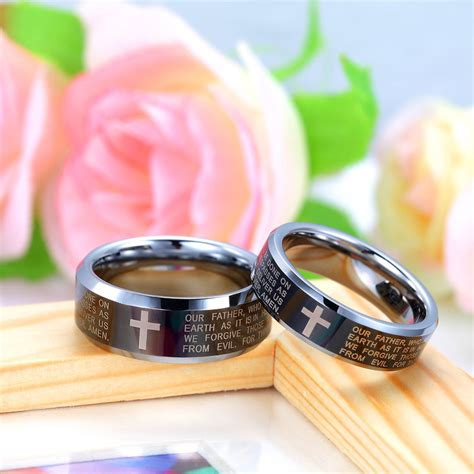 Wedding Bible Engraved by Holy Bible And Cross Engraved Tungsten Wedding Bands