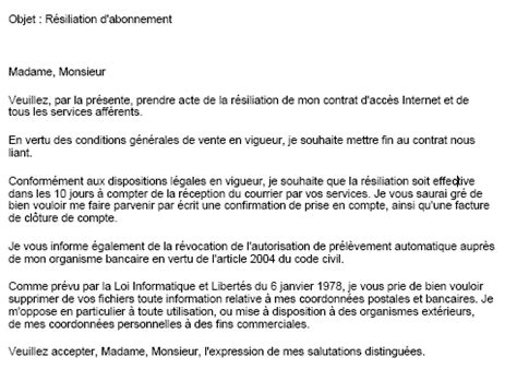 Résiliation Lettre Type Sfr Modele Lettre Resiliation Orange Pro Document