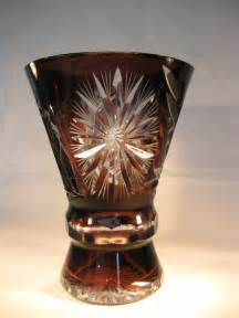 antiques atlas aubergine bohemian cut glass cased vase 1920