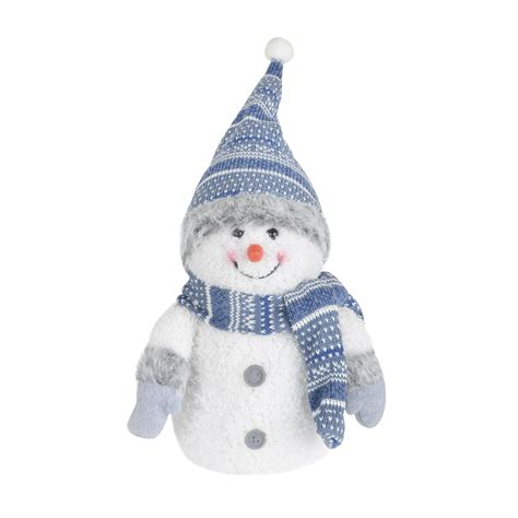 20cm led light up crimbo snowman decoration blue white