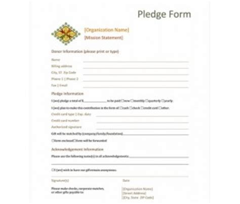 Donation Pledge Form Template Word Templates Charitable Pledge Agreement Template