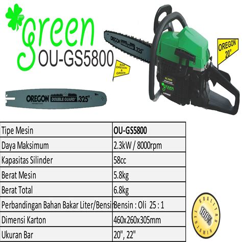 Gergaji Mesin Untuk Kayu harga jual green ou gs5800 mesin gergaji kayu chainsaw 20 inch
