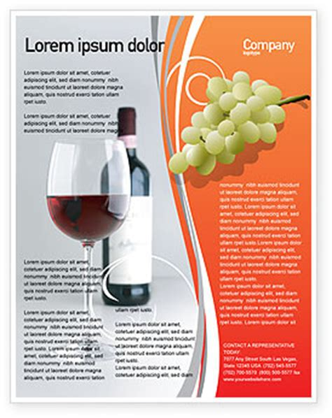 Wine Brochure Template Free by Bottle Of Wine Flyer Template Background In Microsoft
