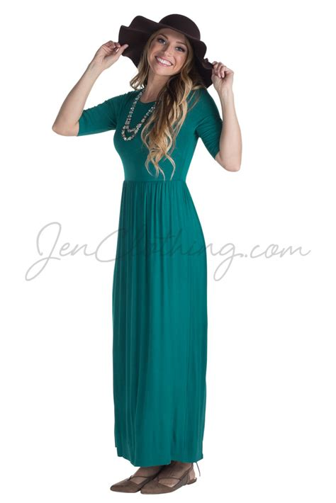 Modest Maxi Dresses by Jenclothing Half Sleeve Modest Maxi Dress In Lake Teal